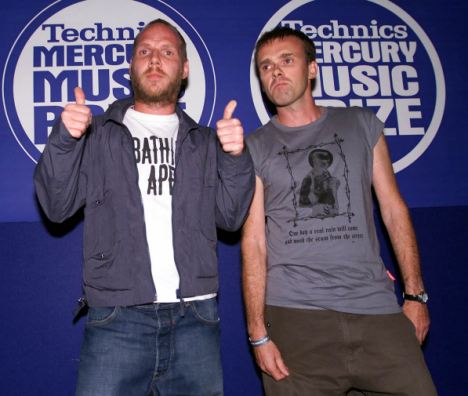 Leftfield Founders: Neil Barnes, right, with  Paul Daley at 2000's Mercury Music Awards event, when Rhythm and Stealth was among the nominations (Photo: Graham Jepson)