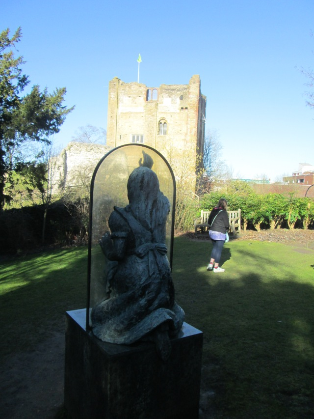 Keep Looking: Guildford's Castle Grounds sculpture from Alice's corner, February 2015 (Photo: Malcolm Wyatt)