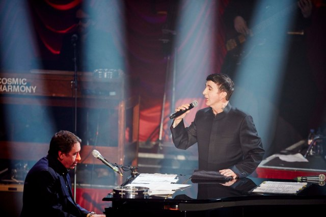 Classic Piaf: Jools Holland  with Marc Almond during the Empress Ballroom filming (Photo: BBC)