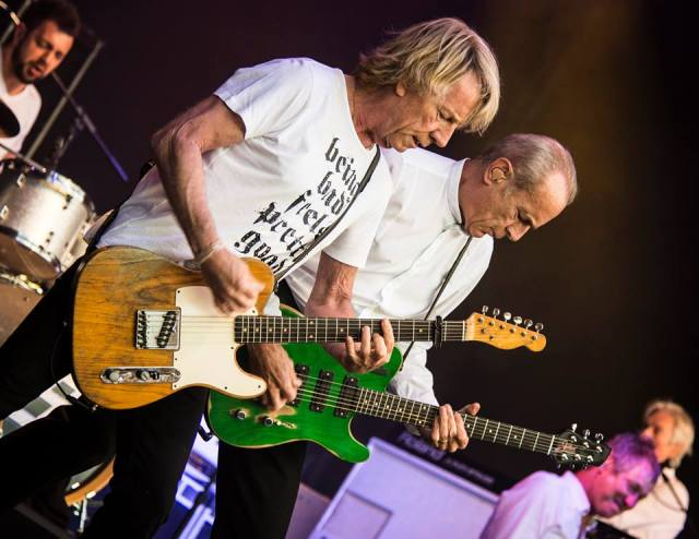 Old School: The Quo were rocking all over the stage. From the left: Leon Cave, Rick Parfitt, Francis Rossi, John 'Rhino'Edwards, Andy Bown (Photo: Symphony at the Tower/Bradley Hamer Photographic)