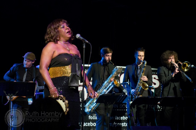 New Beat: Martha Reeves and her band at Preston in December 2013  (Photo copyright: Ruth Hornby, http://ruthhornbyphotography.co.uk/)