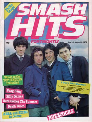 Pop Idols: Buzzcocks on the front of Smash Hits in 1978
