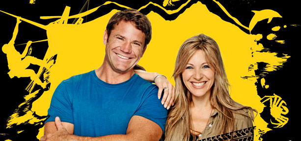 Deadly Duo: Steve Backshall with Live and Deadly Roadshow partner Naomi Wilkinson, as seen by this scribe at Avenham Park in Preston in late 2011 (Photo: BBC)