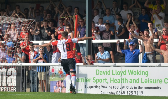 Pattie Ole: New boy Ben Pattie shares the love with the KRE after goal number five against Chester (Photo: David Holmes)