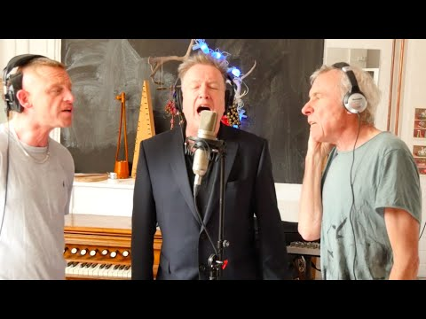 Studio Tan: Tom Robinson in the studio with Lee Forsyth Griffiths, left, and TV Smith, right