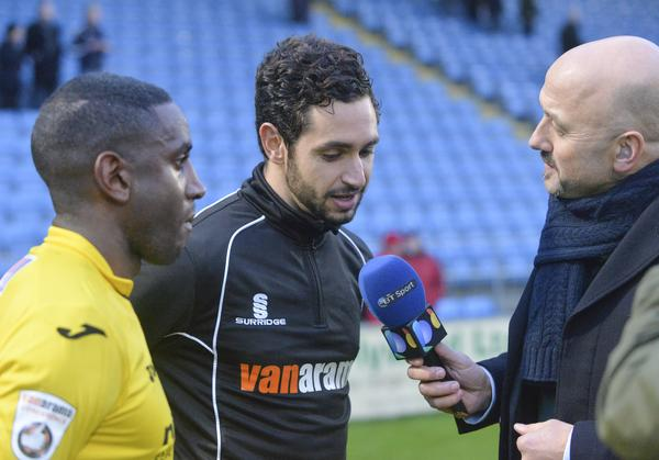 TV Times: Goalscorers Adam Newton and Giuseppe Sole speak to BT Sport and BBC reporter Mark Clemmit after the Halifax victory (Photo: David Holmes)