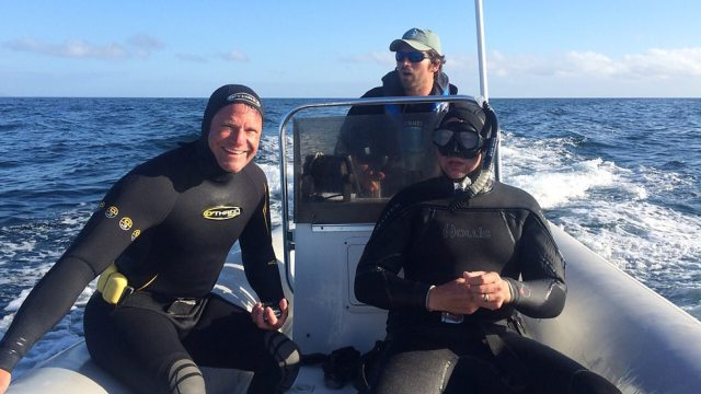 Bay Watch: Steve Backshall and cameraman Simon Enderby ready to dive in Monterey Bay for Big Blue Live (Photo: BBC, with the image by Andrew Hoare, sound recordist)