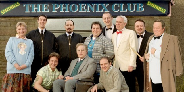 Club Classics: Dave Spikey as Jerry St Clair with his fellow Phoenix Nights regulars (Photo: Channel 4)