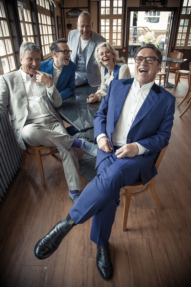 Messed Around: The new Squeeze line-up, with Chris Difford out front and, from the left, Glenn Tilbrook, Stephen Large, Simon Hanson and new arrival Lucy Shaw (Photo: Rob O'Connor/www.stylorouge.co.uk)