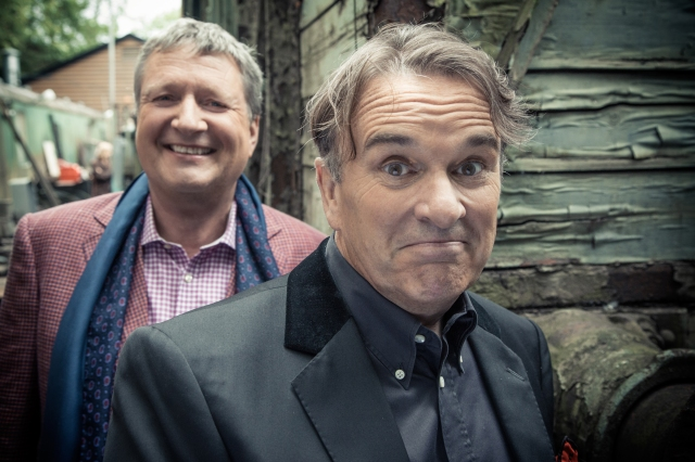 At Odds: Glenn Tilbrook gets behind songwriting partner Chris Difford, right, on Squeeze's big day out at Tenterden on the Kent and East Sussex Railway (Photo: Rob O'Connor/www.stylorouge.co.uk).
