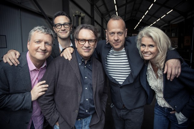 Lined Up: Squeeze 2015 style. From the left - Glenn Tilbrook, Stephen Large, Chris Difford, Simon Hanson and Lucy Shaw (Photo: Squeeze)