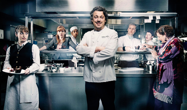 Master Chef: Alan Davies as Roland White in Whites (Photo: BBC)