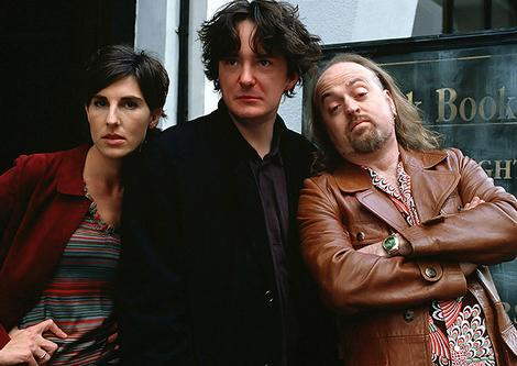 Black Looks: Dylan Moran, flanked by Tamsin Greig and Bill on the set of Black Books (Photo: Channel 4)