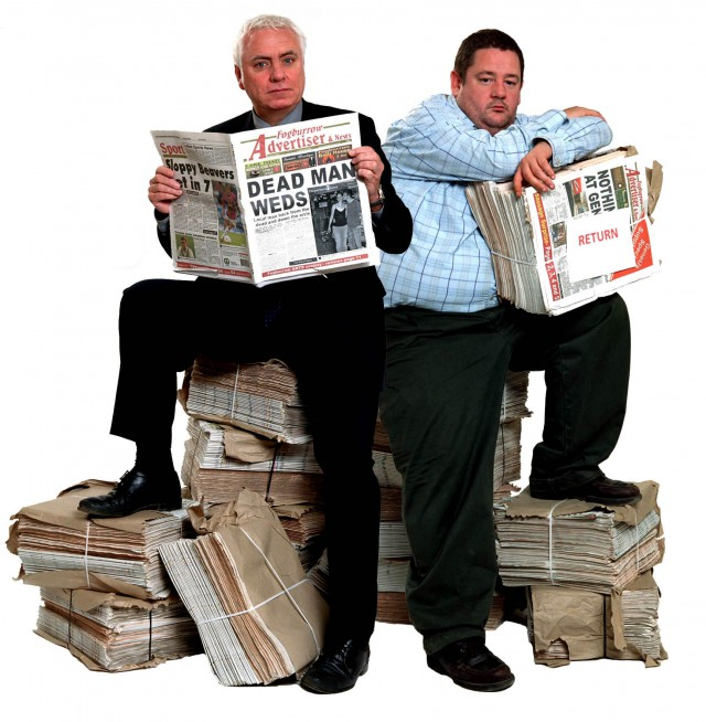 Crown Prints: Dave Spikey and Johnny Vegas after another hard shift on the Fogburrow Advertiser (Photo: ITV/Red Productions)