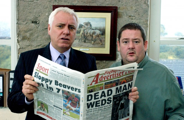 Headline Acts: Dave Spikey as Gordon Garden and Johnny Vegas as Lewis Donat in Dead Man Weds (Photo: ITV/Red Productions)