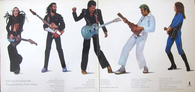 Pleasure Seekers: Roxy Music in 1973, from the gatefold sleeve of their For Your Pleasure LP. Noel Fielding not yet added.