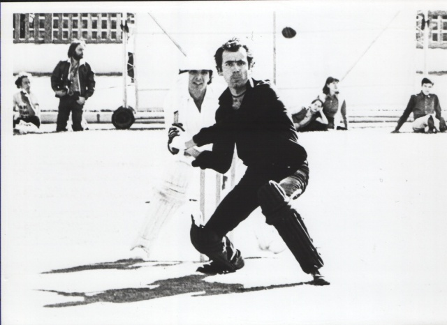 Full Toss: Hugh Cornwell faces a tricky delivery at Paddington Rec in '79 (Photo found on the http://auralsculptors.blogspot.co.uk/ site)
