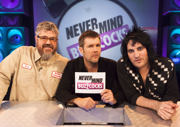 Buzzcocks Banter: Noel, right, with Phill Jupitus, left, and Rhod Gilbert on the Never Mind the Buzzcocks set (Photo: BBC)