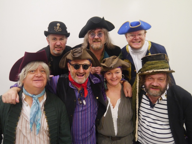 Me Hearties: Mark Radcliffe and his Galleon Blast shipmates, all set for Sheffield and Preston
