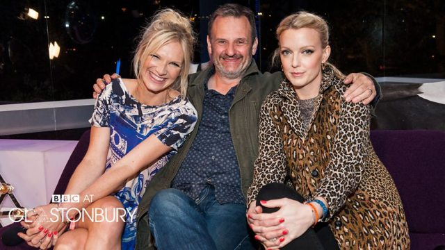 Glasto Stalwarts: Mark Radcliffe with Jo Whiley and Lauren Laverne during the BBC's Glastonbury Festival coverage (Photo: BBC)