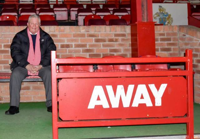 Cardinal Legend: Geoff Chapple, taking time out before kick-off at Altrincham, 25 years after his Woking side gave Everton a battle at Goodison Park (Photo: David Holmes)