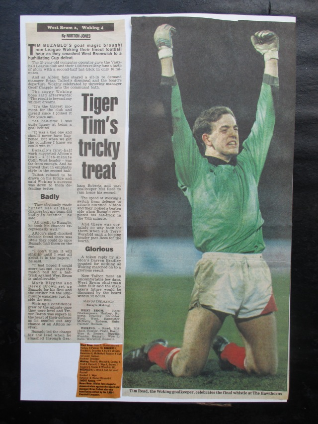 Great Read: Cards keeper Tim Read gets the national adulation (Image from the writewyattuk archive, with proper credit to the original photographer and publication)