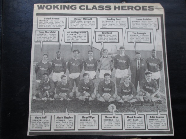 Hero Worship: Woking FC's class of '90/'91, with a few notables missing (Image from the writewyattuk archives, with proper credit to the original photographer & publication)