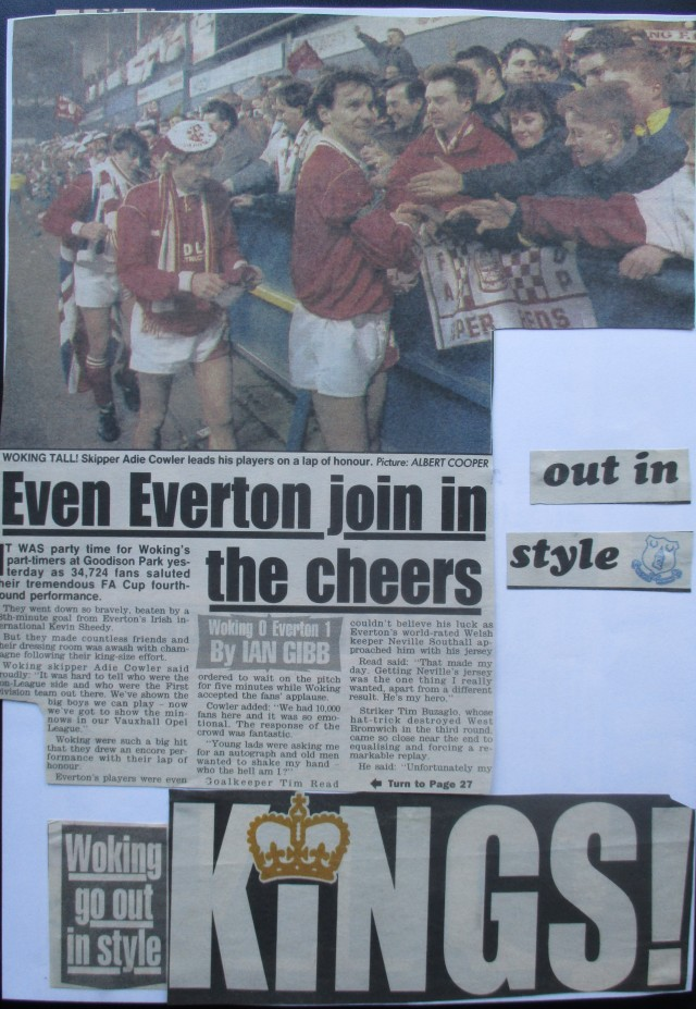 Regal Respect: The Cardinals take the plaudits at Goodison Park (Image from the writewyattuk archive, with proper credit to the original photographer and publication)