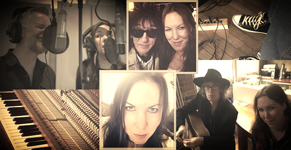 Studio Tan: Thea and friends recording Ghosts and Graffiti, including Billy Bragg, John Cooper Clarke and Mike Scott