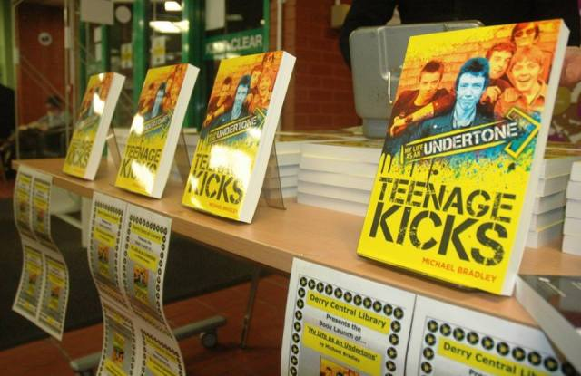 Kicks Conspiracy: A display at the Derry launch of Mickey's band memoir (Photo: Vinny Cunningham)