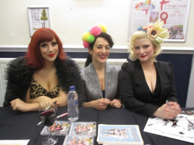 Signing Sirens: Emma, Marcella and Kate play up to the camera post-Pavilion show. Next time I might even put the flash on. (Photo: Malcolm Wyatt)