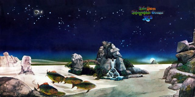 Oceans Apart: Roger Dean's revered cover from the 1973 Yes album Tales from Topographic Oceans, one of many he designed for the band, including the above examples, Drama and Fragile.