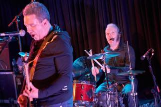 Singing Drummer: Ciaran McLaughlin (right of bandmate Raymond Gorman) adds vocal touches to The Everlasting Yeah, live at the Lexington, Islington (Photo copyright: Kate Greaves)