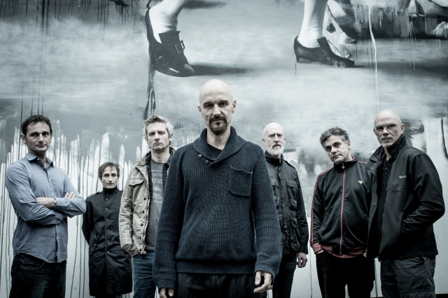 Magnificent Seven: James today, with Nothing But Love for us (from the left - Jim Glennie, Saul Davies, Mark Hunter, Tim Booth, David Baynton-Power, Andy Diagram, Larry Gott)