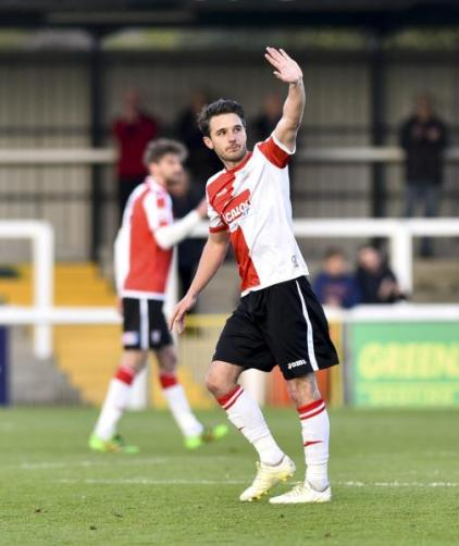 Goodbye Johnny: The Cards' player of the season, John Goddard, says his farewells at Kingfield, before the next chapter unfolds at Swindon Town (Photo: David Holmes)