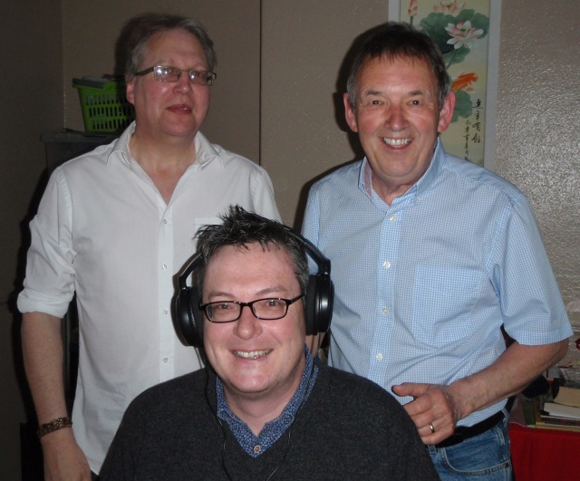 Broadcast Aspersions: The blogger, wired for sound, with Leyland Festival Radio's Brian Ashman, left, and Keith Bradshaw right behind him