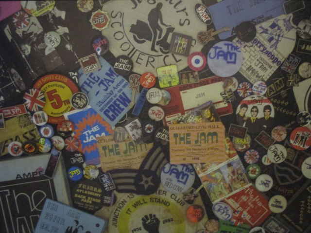 Jam Collage: Mementoes of the band in the exhibition's entrance hall (Photo: Malcolm Wyatt)