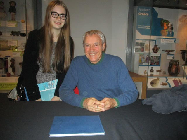 Sign Time: Michael meets a fan in Preston - the blogger's eldest daughter, Molly (Photo: Malcolm Wyatt)