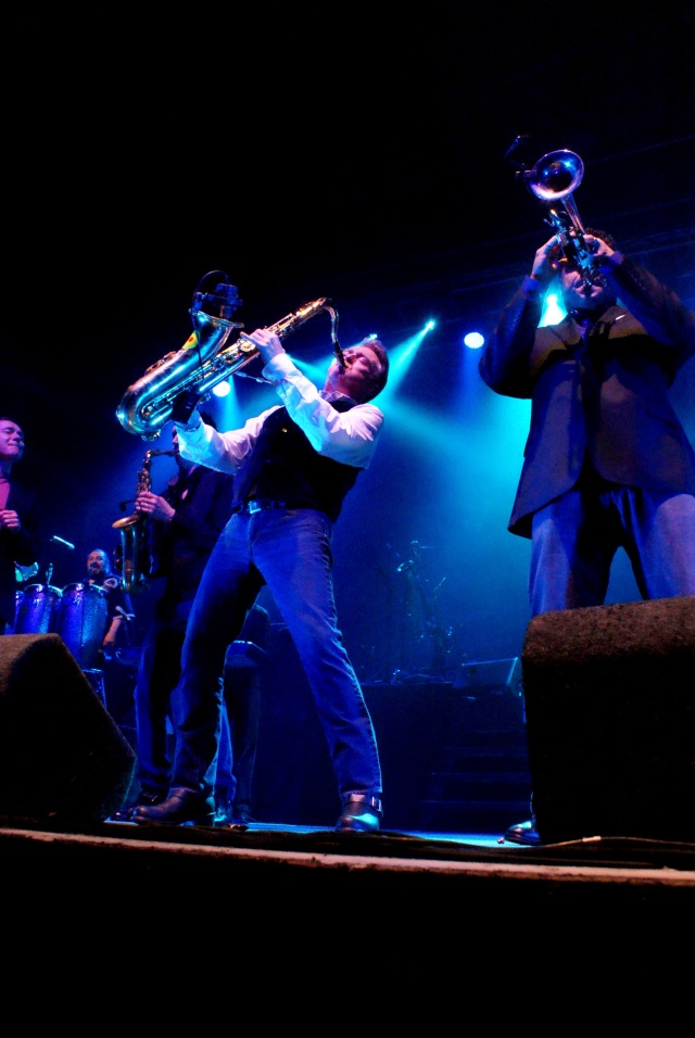 Sax Appeal: Brian Travers gives it some welly on stage with UB40 (Photo: Martin Porter)