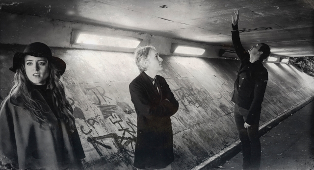 Underpass Masters: The Magnetic North, on location in Skelmersdale. From the left: Hannah Peel, Simon Tong, Erland Cooper. (Photo copyright: McCoy Wynne)