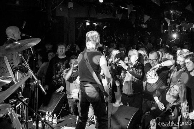 Live Presence: Ed Bazalgette, left, and David Fenton, centre, face the crowd at Dingwall's in Camden (Photo: Ashley Greb Photography https://www.facebook.com/ashleygrebphotography/)