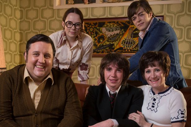 Baker Bunch: Danny Baker's fictional family in Cradle to Grave, for which Squeeze wrote the music. Top row - Alice Sykes and Frankie Wilson. Front row - Peter Kay, Laurie Kynaston, Lucy Speed (Photo: BBC).