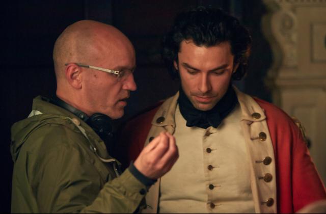 Direct Action: Ed Bazalgette on the set of Poldark with Aidan Turner (Photo: BBC)