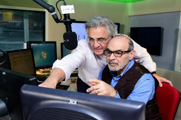 Brotherly Love: John and David Suchet together in front of the microphone at Classic FM (Photo: Classic FM)