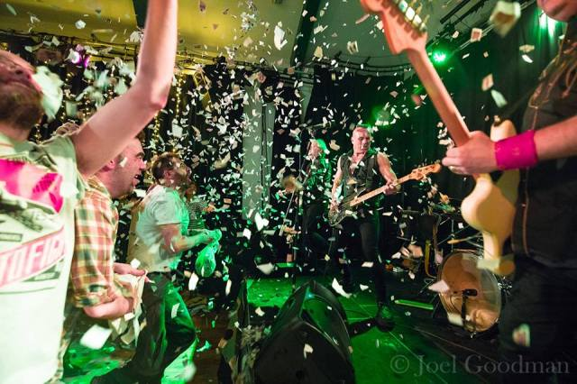Paper Chase: The Membranes are showered in confetti at the Continental (Photo copyright: Joel Goodman)