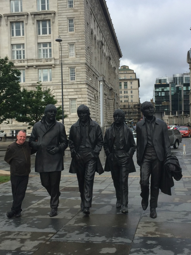 Fab Five: Richard, George, John, Ringo and Paul at Liverpool's Pier Head.