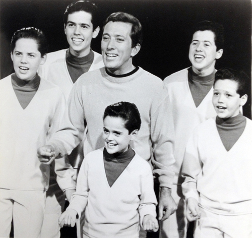 Stage Mentor: Andy Williams with The Osmonds, with Donny out front (Photo: Salt Lake Tribune Archive)