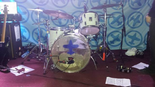Drum Riser: John Langley's Blue Aeroplanes drum kit, at the Ruby Lounge, Manchester (Photo courtesy of Kevin Gibson)
