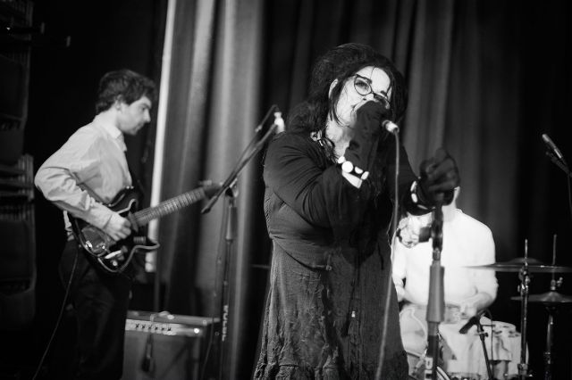 Rose Again: Ms McDowall, with guitarist Michael Kasparis, left (Photo copyright: John Middleham)