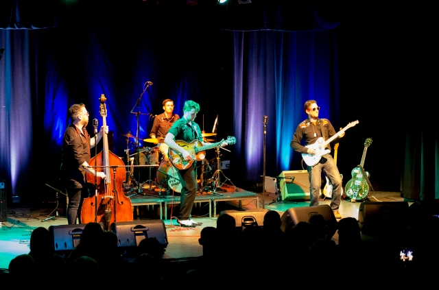Rockin' Men: Doug Perkins and the Spectaculars giving it their all, rockabilly style (Photo: Dave Brown)
